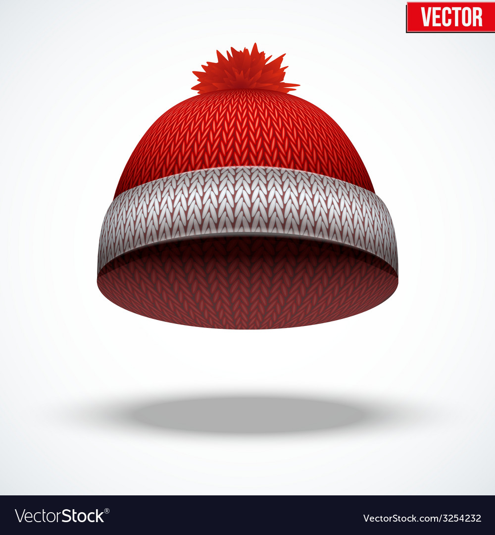 Knitted woolen red cap winter seasonal blue hat vector | Price: 1 Credit (USD $1)
