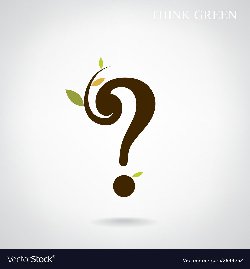 Question mark and think green concept vector | Price: 1 Credit (USD $1)