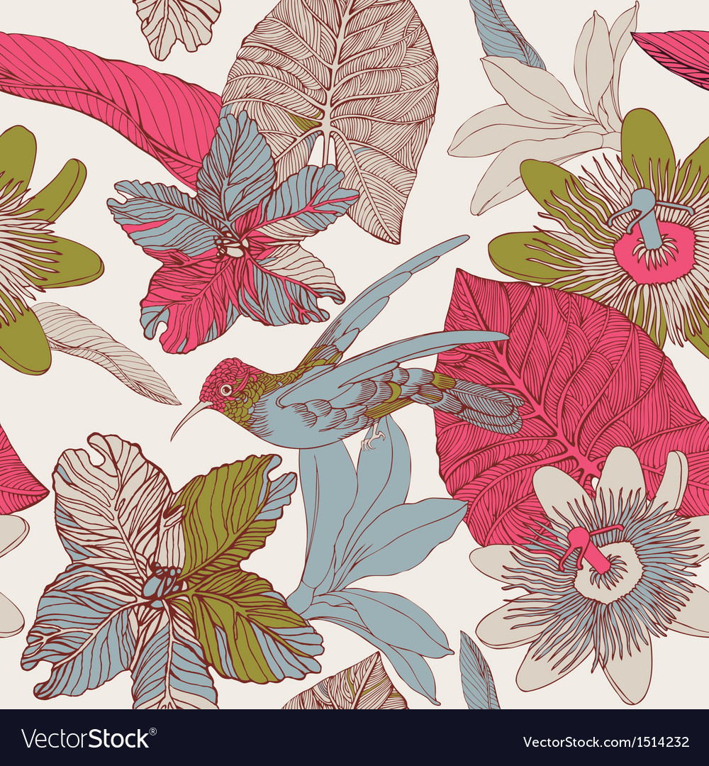 Seamless tropical floral pattern vector | Price: 1 Credit (USD $1)