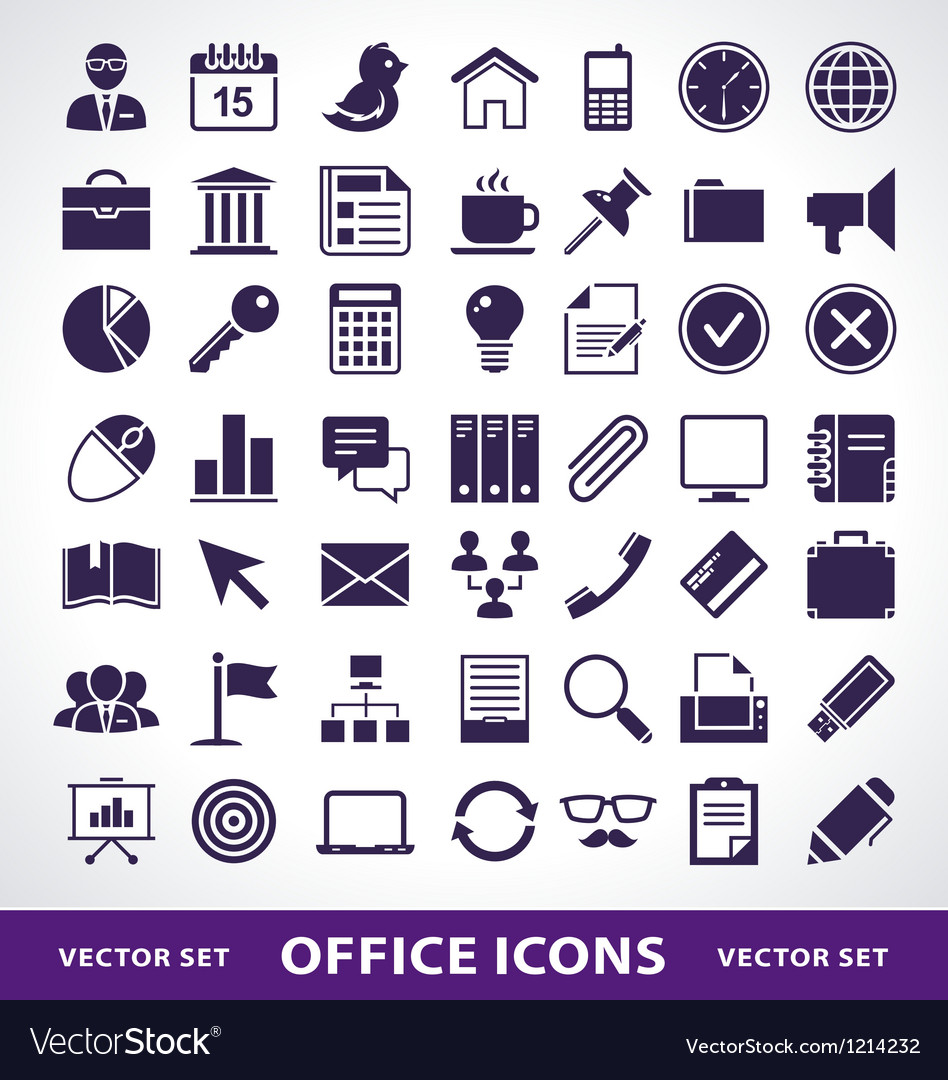 Simple office life icons vector | Price: 1 Credit (USD $1)