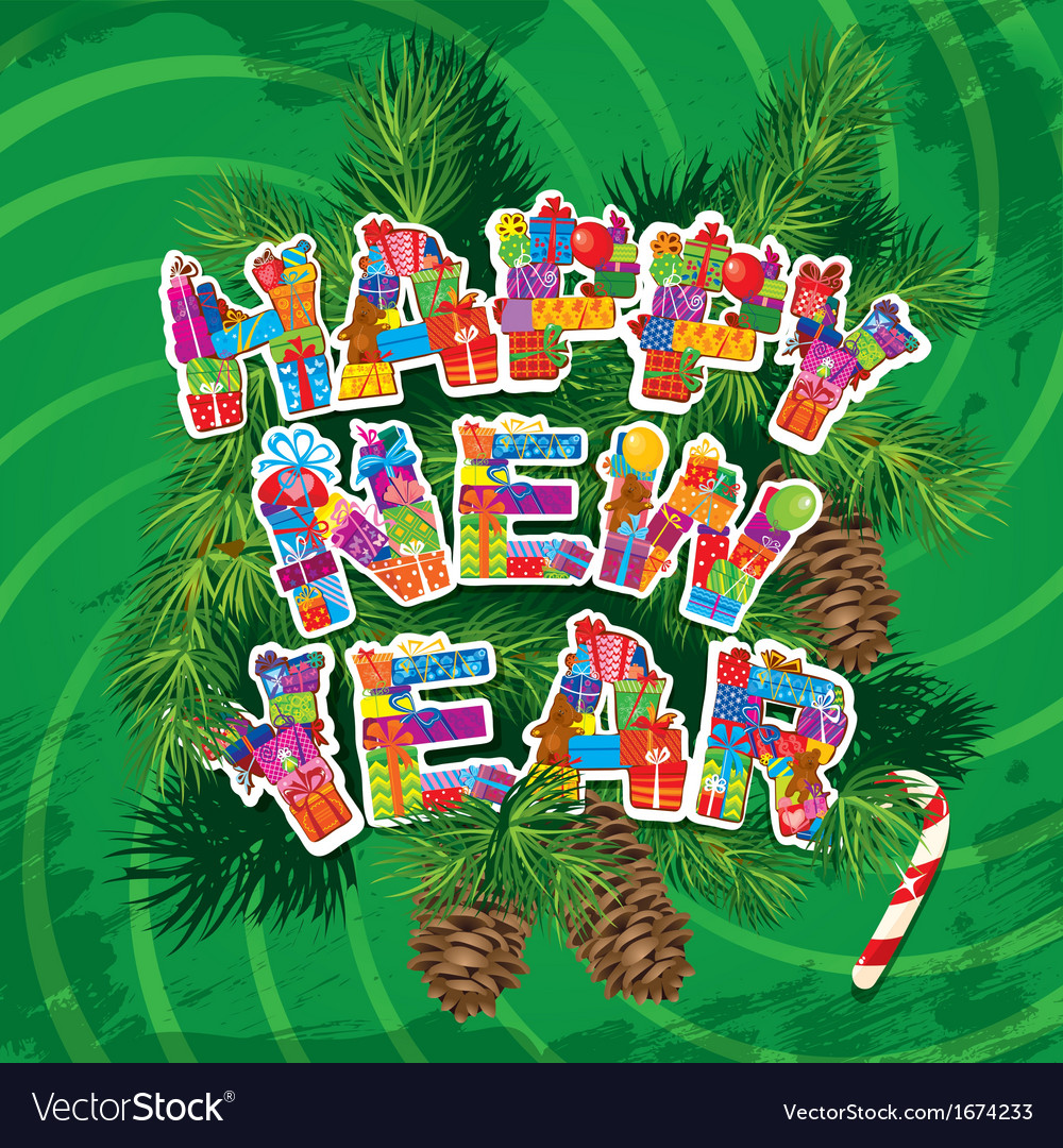 Abstract happy new year green background vector | Price: 1 Credit (USD $1)