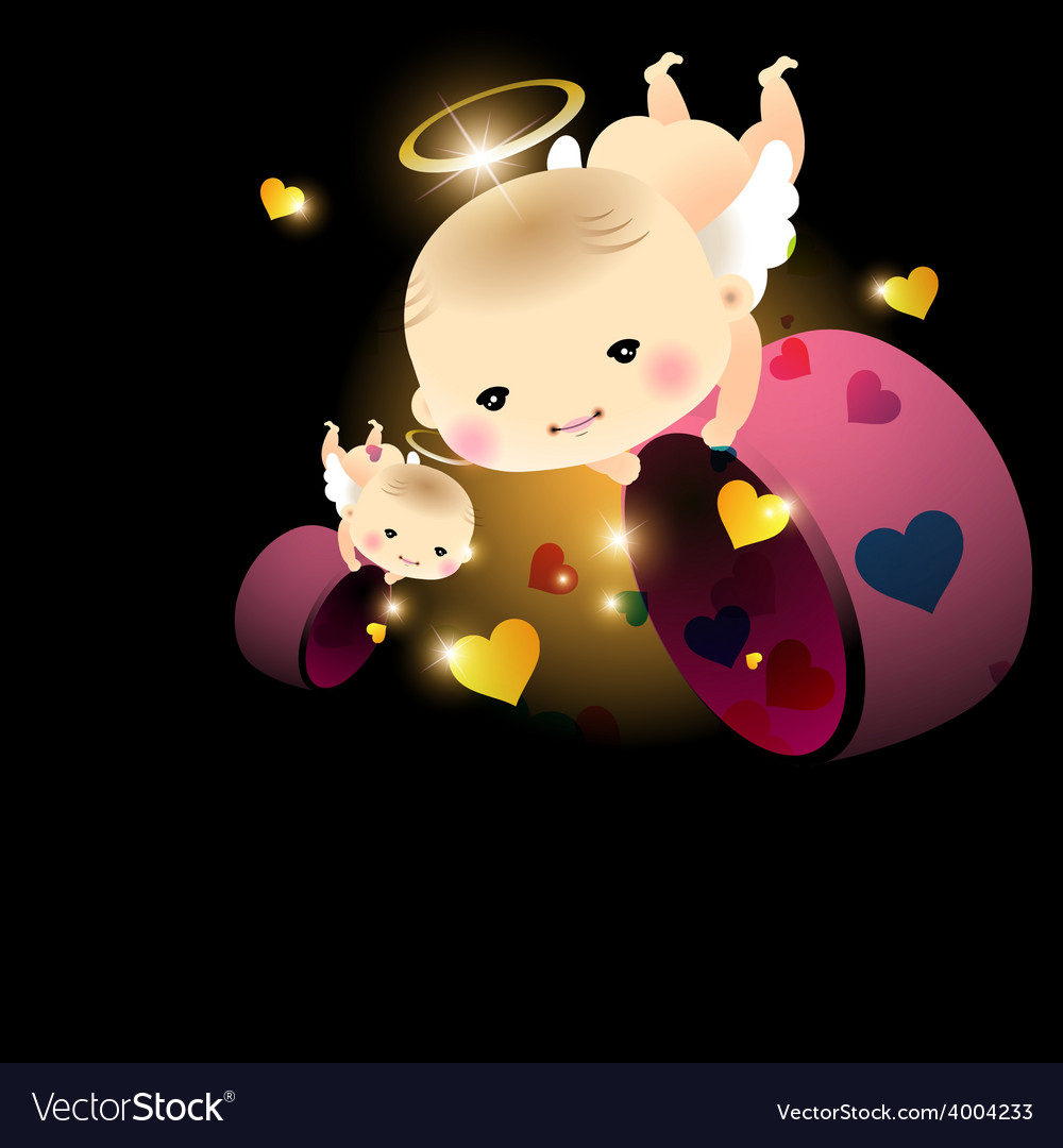 Baby angel with hearts vector | Price: 1 Credit (USD $1)