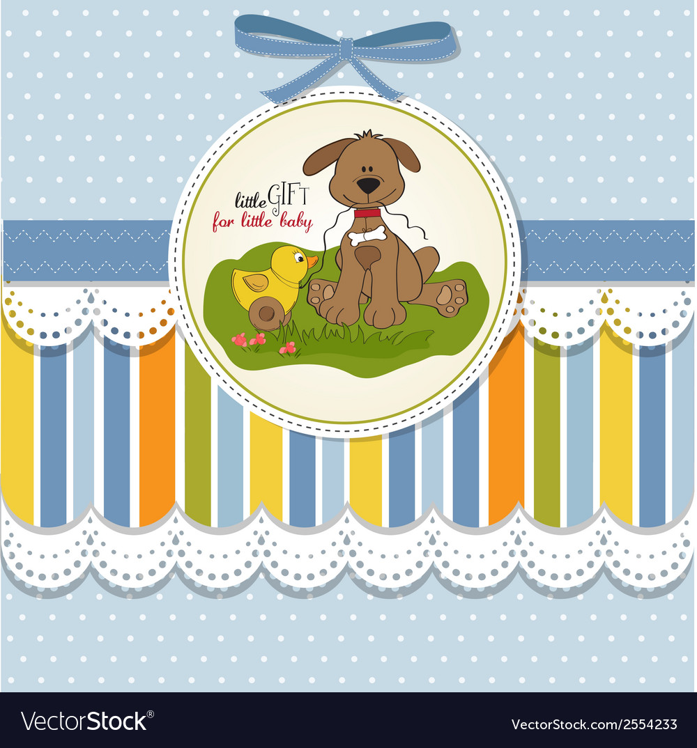 Baby shower card with dog and duck toy vector | Price: 1 Credit (USD $1)
