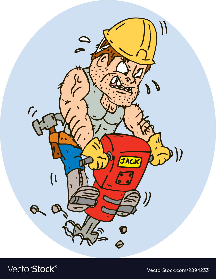 Construction worker jackhammer drilling cartoon vector | Price: 1 Credit (USD $1)