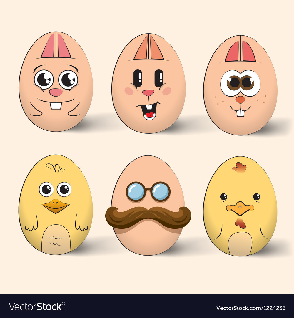 Easter egg characters vector   Price: 1 Credit (USD $1)