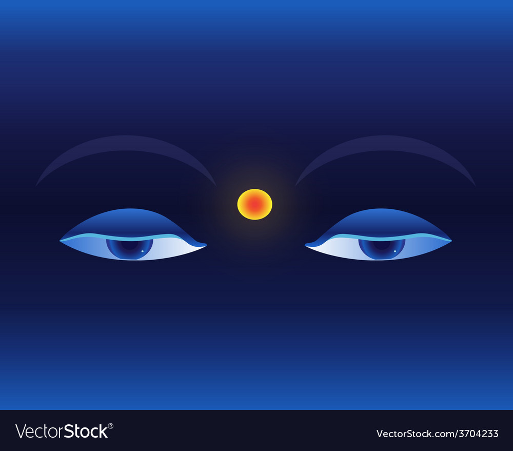 Eyes on deep blue background buddhistic banner vector | Price: 1 Credit (USD $1)