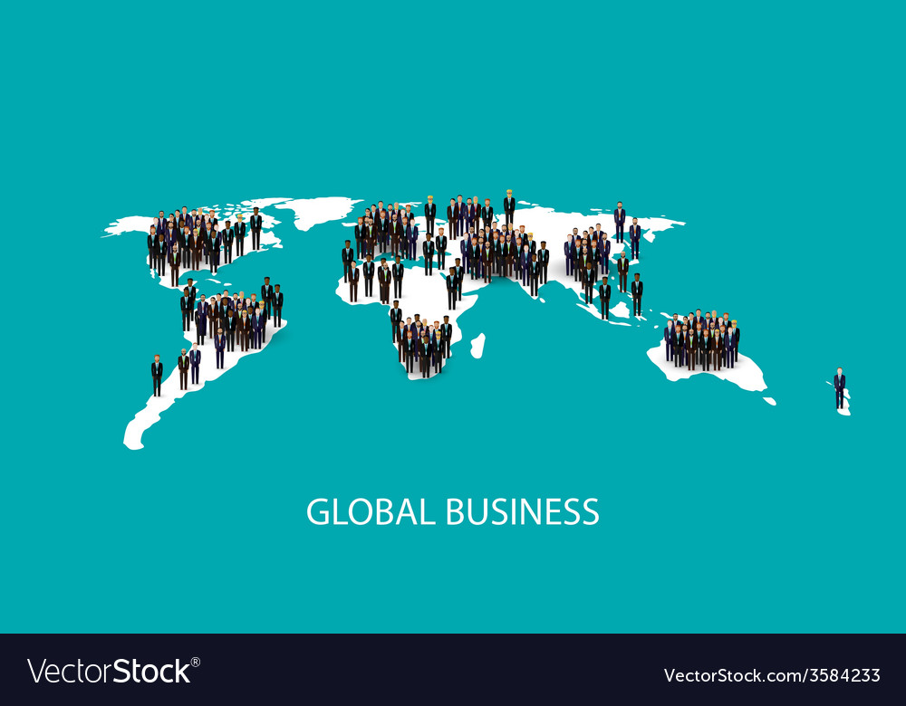 Flat of business people standing on the world vector | Price: 1 Credit (USD $1)