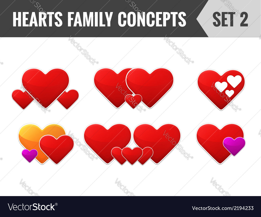 Hearts family concepts set 2 vector | Price: 1 Credit (USD $1)