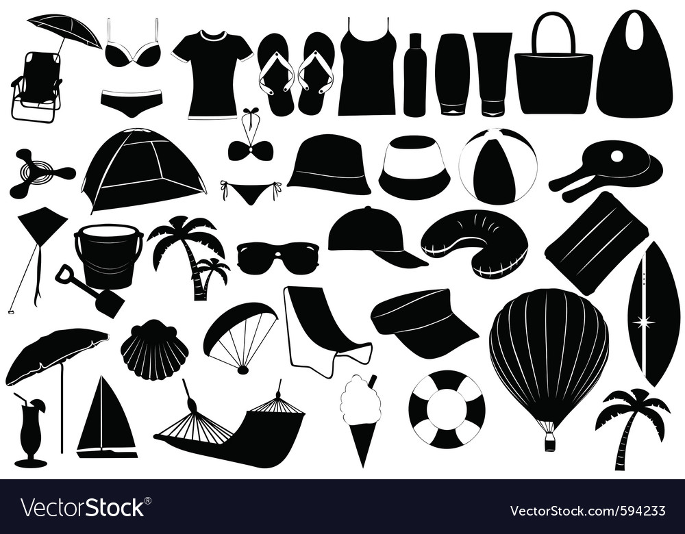 Of summer vacation objects vector | Price: 1 Credit (USD $1)