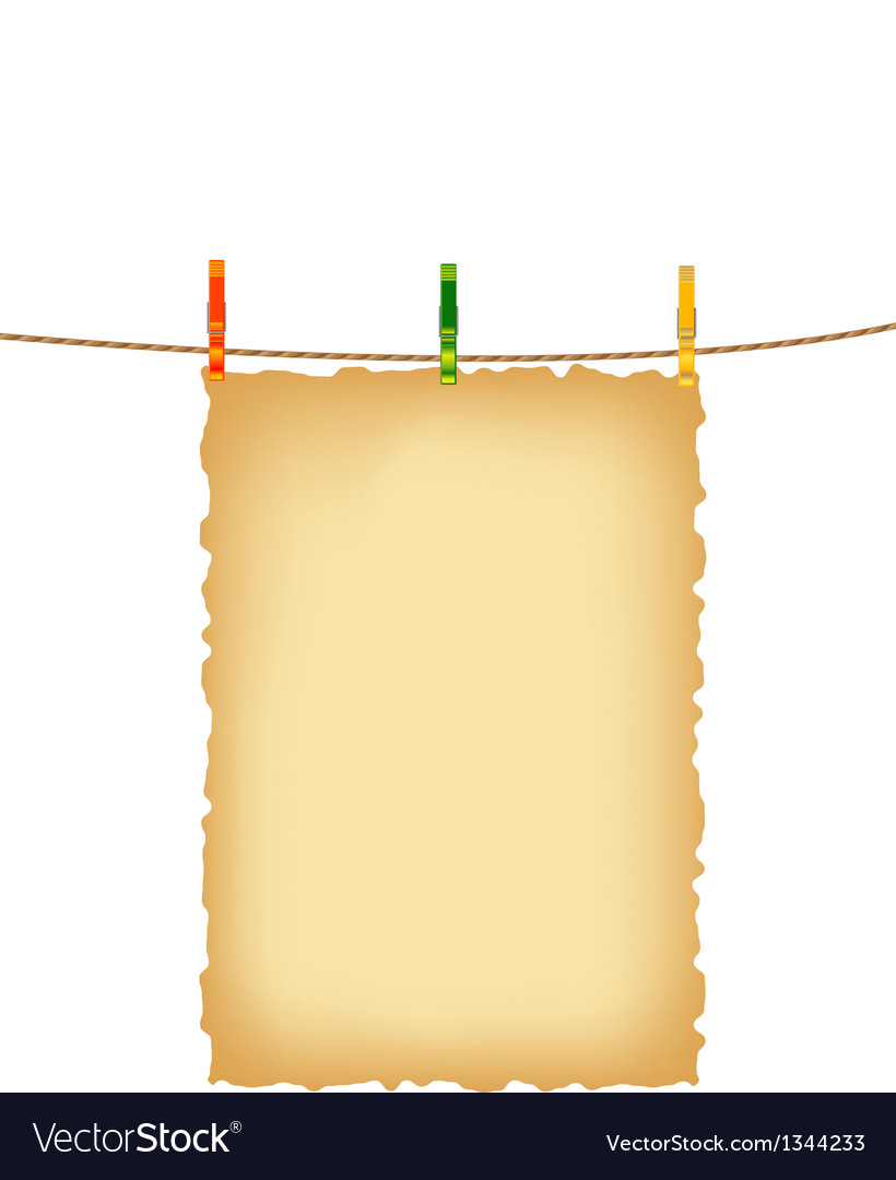 Old paper background and clothes pins with rope vector | Price: 1 Credit (USD $1)