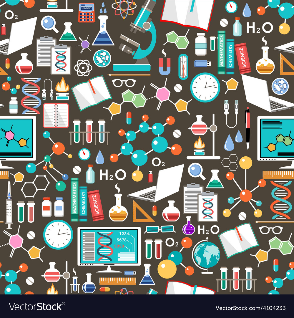 Seamless chemical and scientific pattern vector   Price: 1 Credit (USD $1)