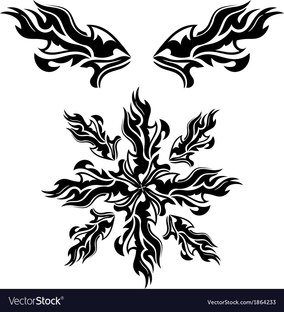 Set of black tribal elements vector | Price: 1 Credit (USD $1)