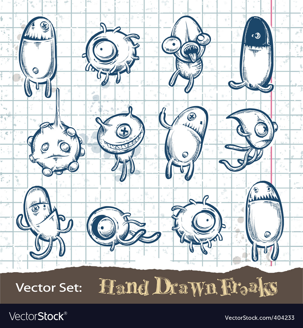 Set of hand drawn freaks vector