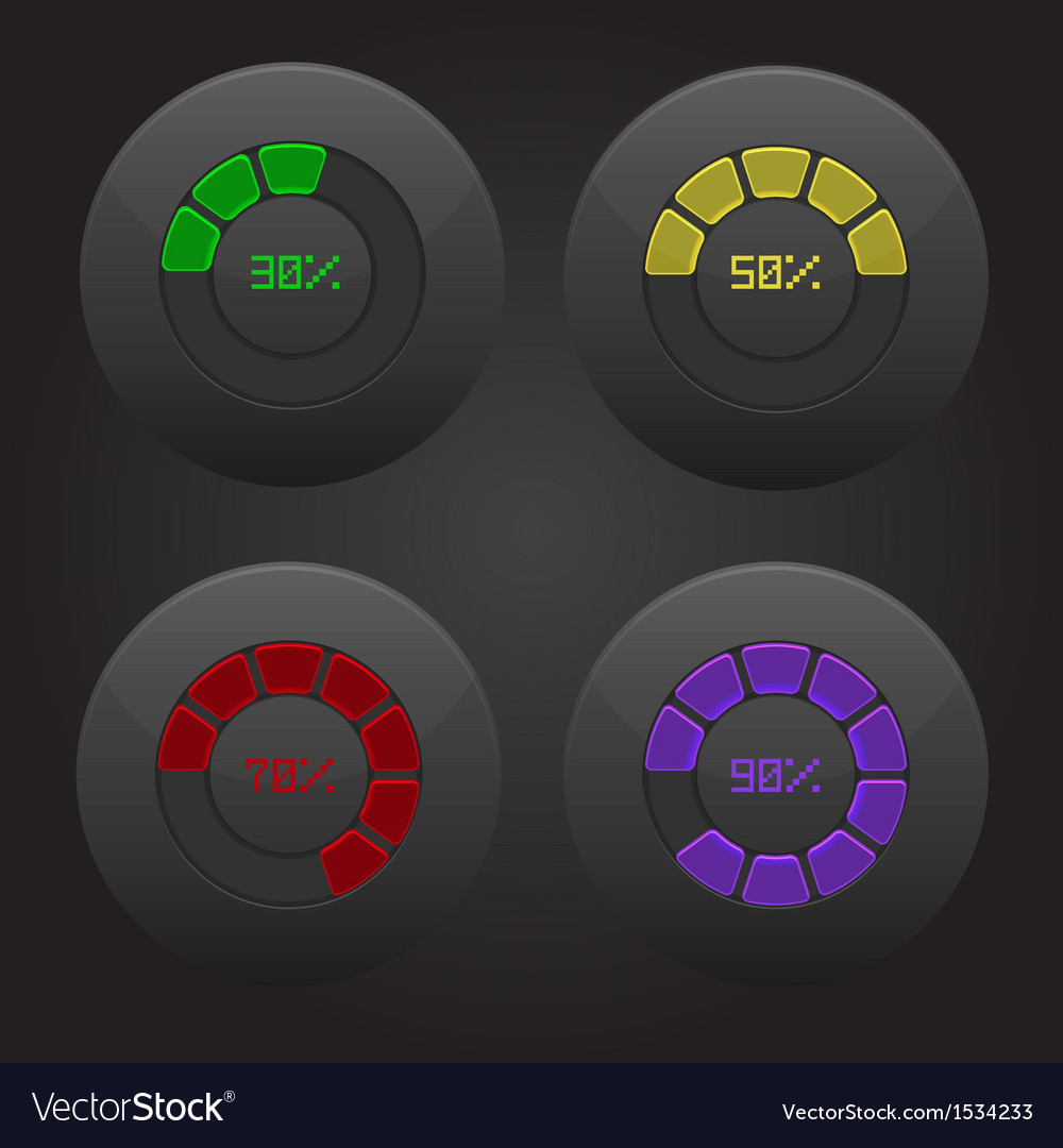 Set of radial progress preloading percentage vector | Price: 1 Credit (USD $1)