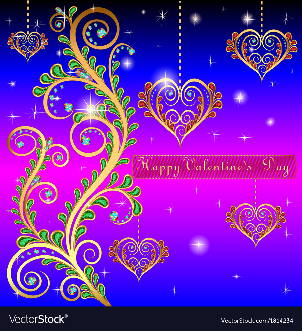 Blue postcard on valentines day with pendants hear vector | Price: 1 Credit (USD $1)