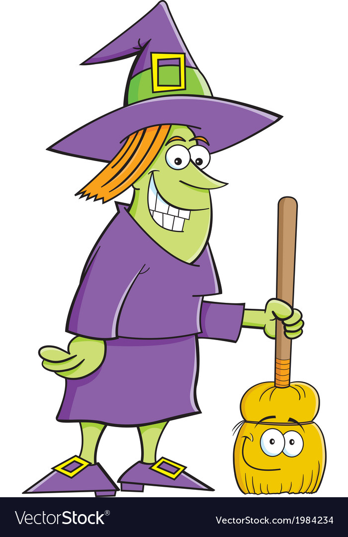 Cartoon witch with a broom vector | Price: 1 Credit (USD $1)
