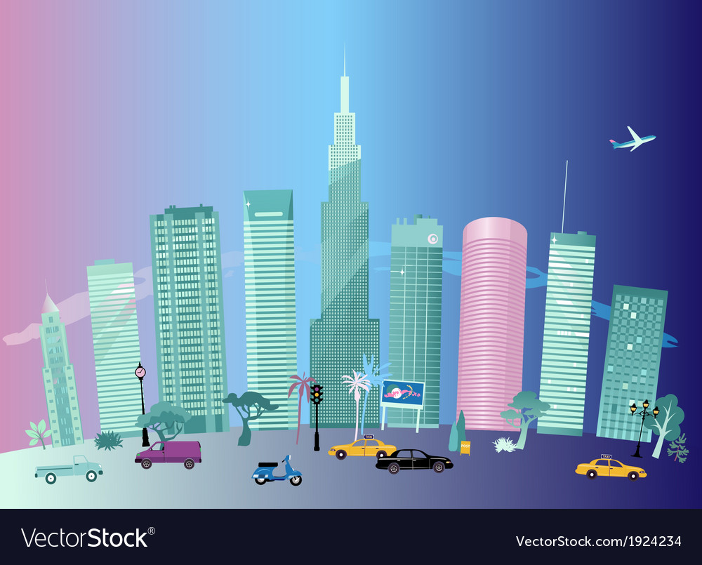 City day and night vector | Price: 1 Credit (USD $1)