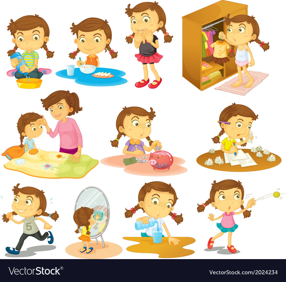 Different activities of a young girl vector | Price: 3 Credit (USD $3)