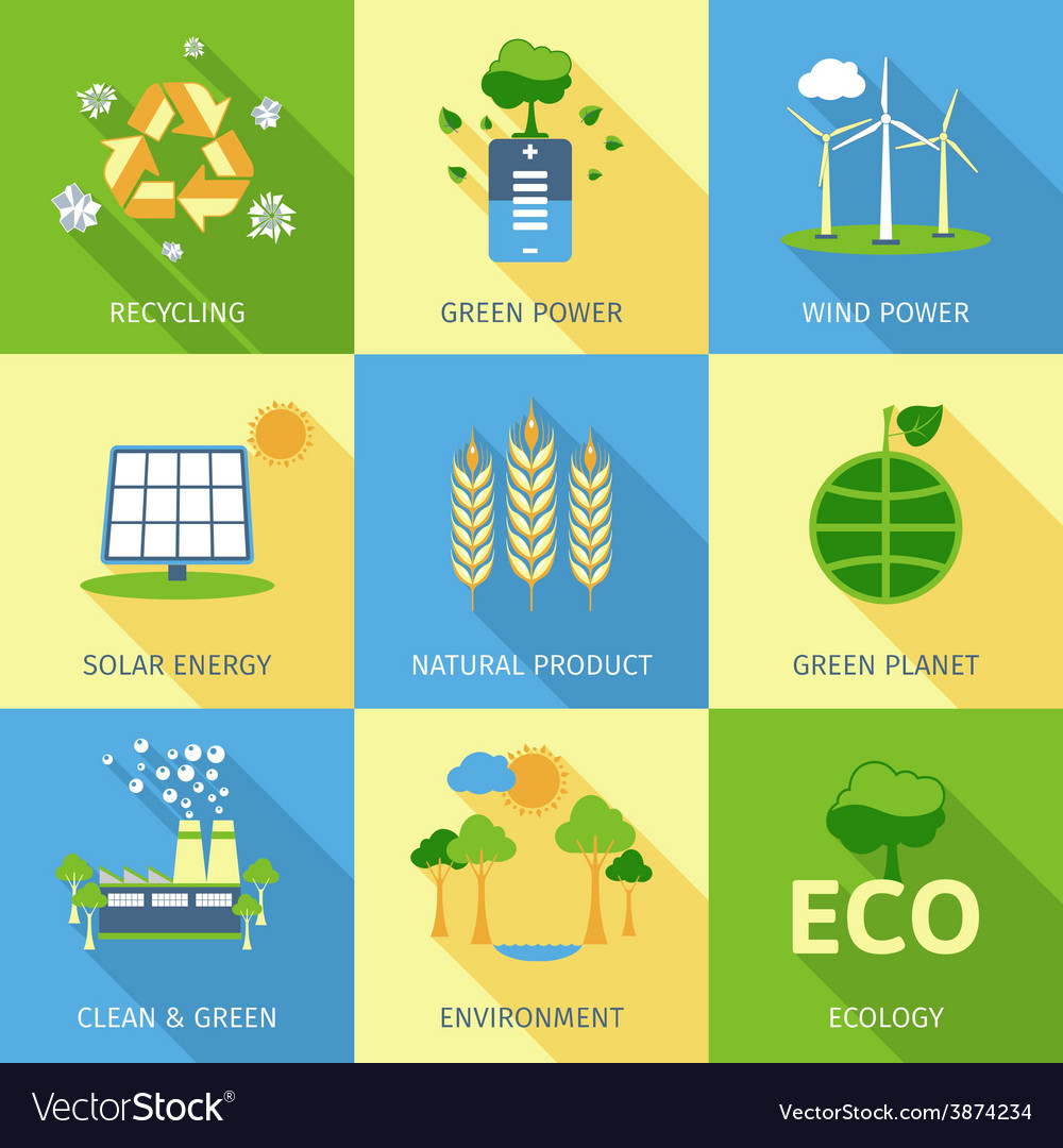 Ecology concept set vector | Price: 1 Credit (USD $1)