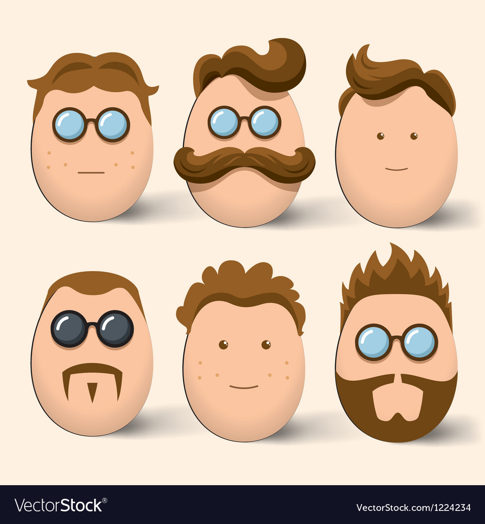 Egg characters face set vector | Price: 1 Credit (USD $1)