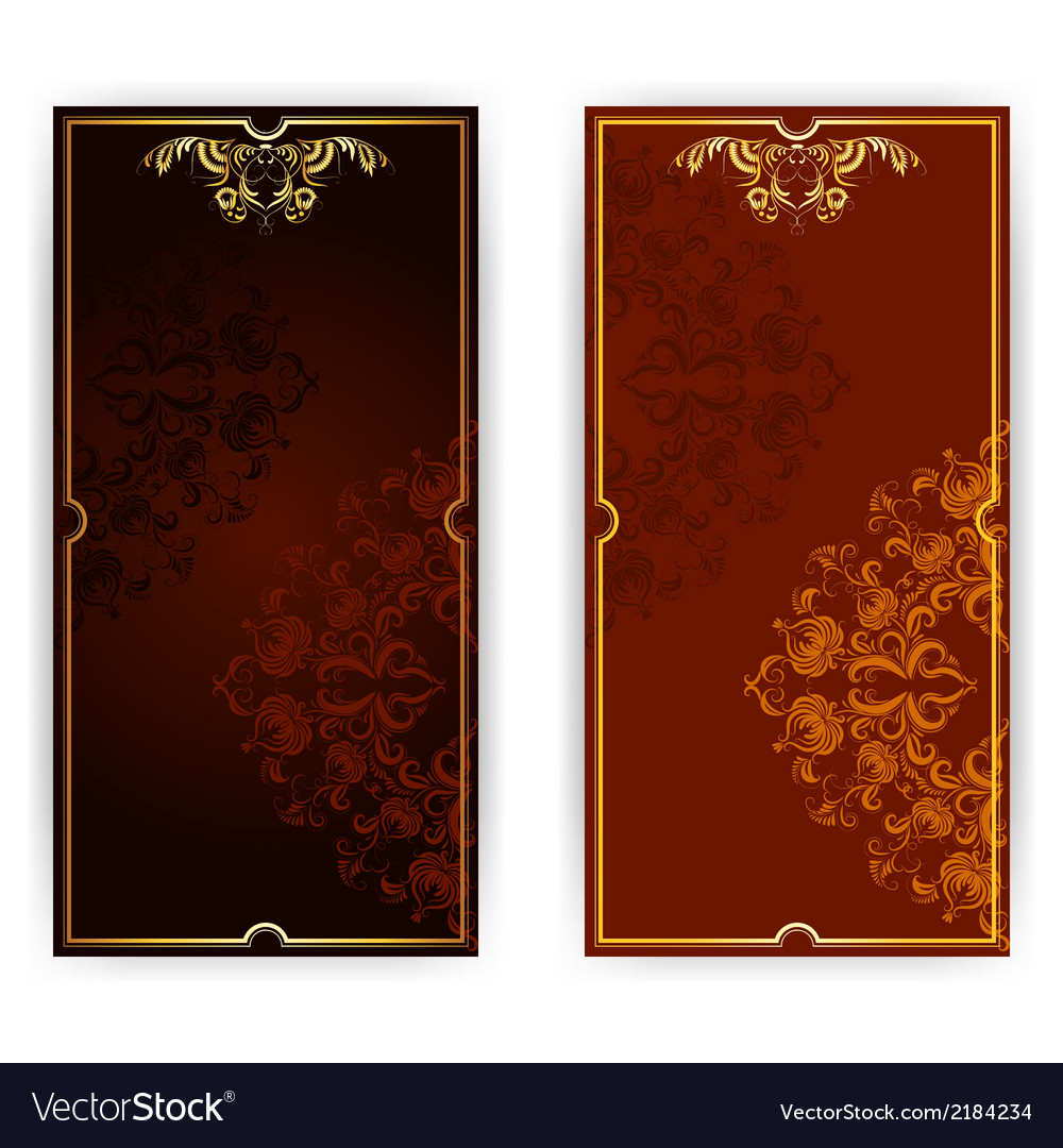 Invitation card with brown ornament vector | Price: 1 Credit (USD $1)
