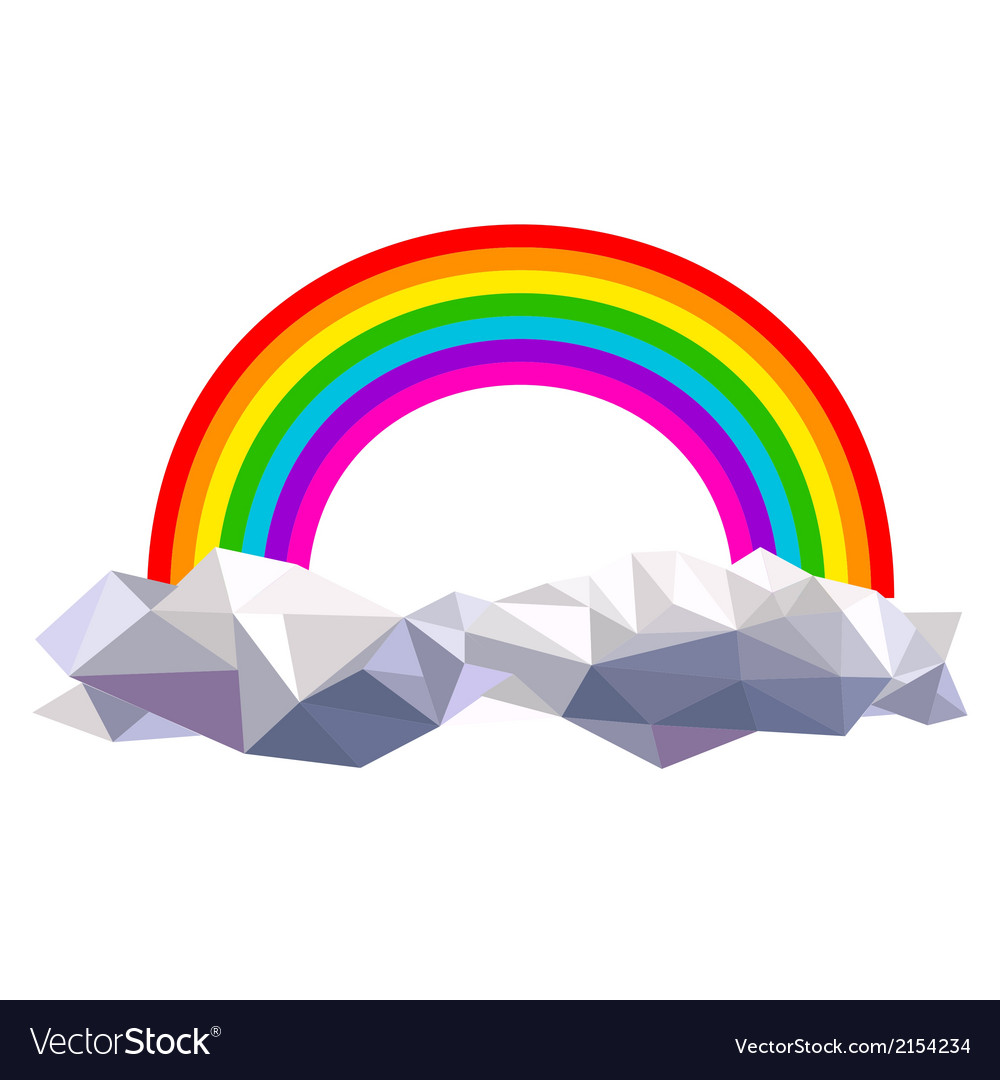Origami clouds with rainbow vector | Price: 1 Credit (USD $1)