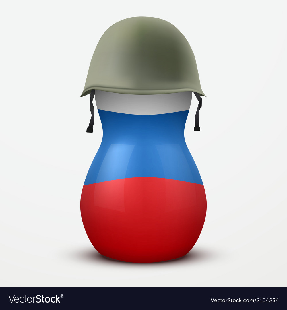 Russian matrioshka in military helmets and flag vector | Price: 1 Credit (USD $1)