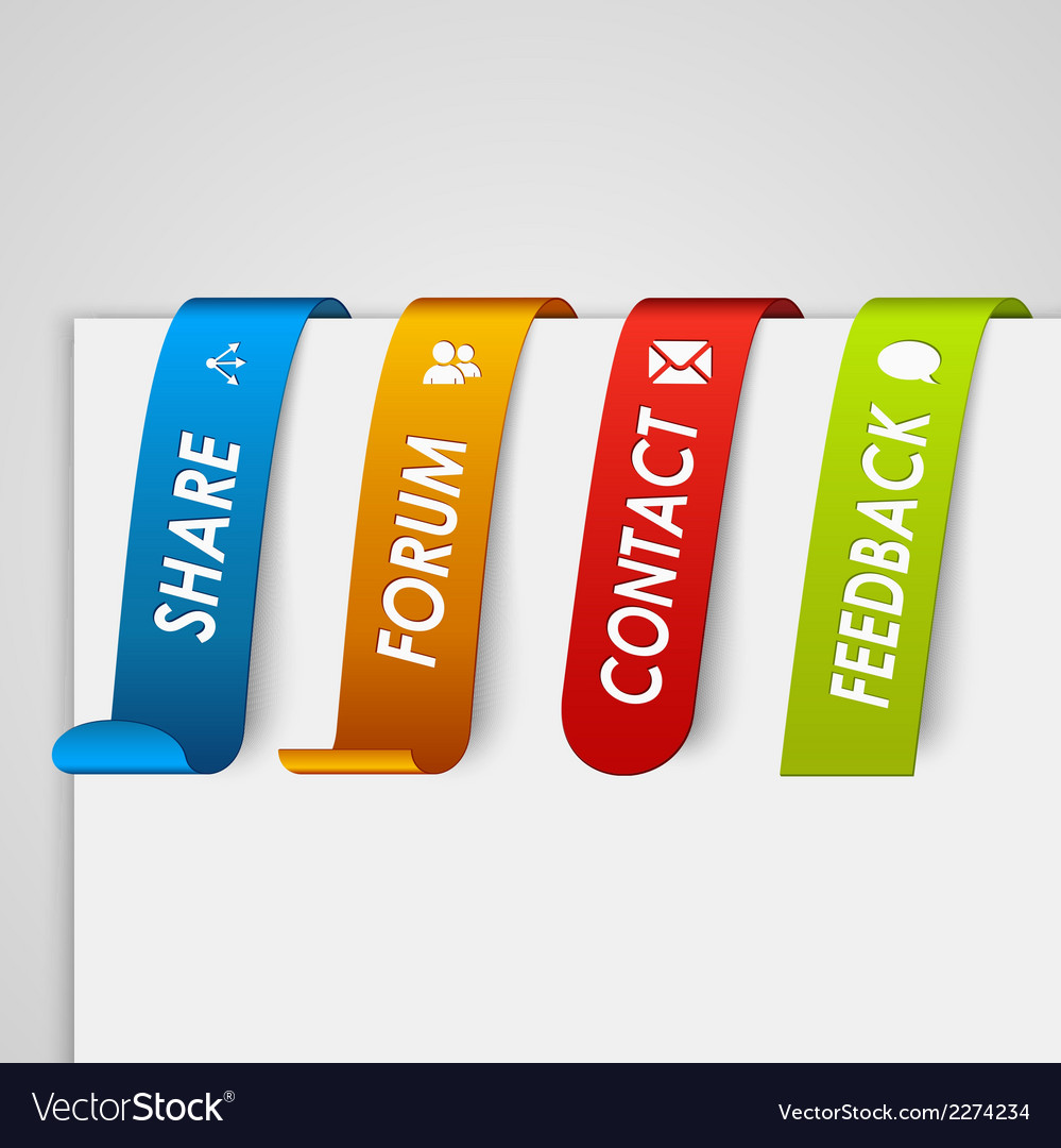 Set of colored paper tags web element vector | Price: 1 Credit (USD $1)