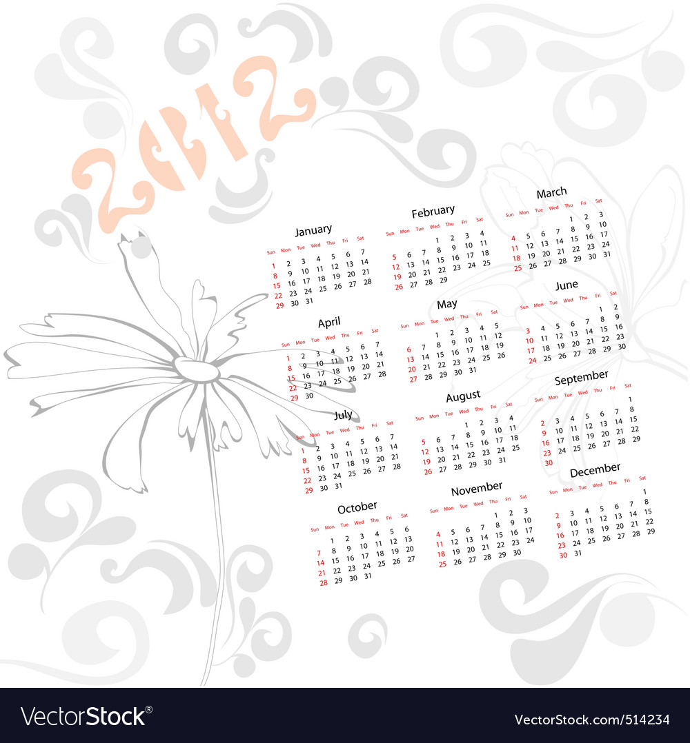 Template for calendar 2012 with decorative element vector | Price: 1 Credit (USD $1)