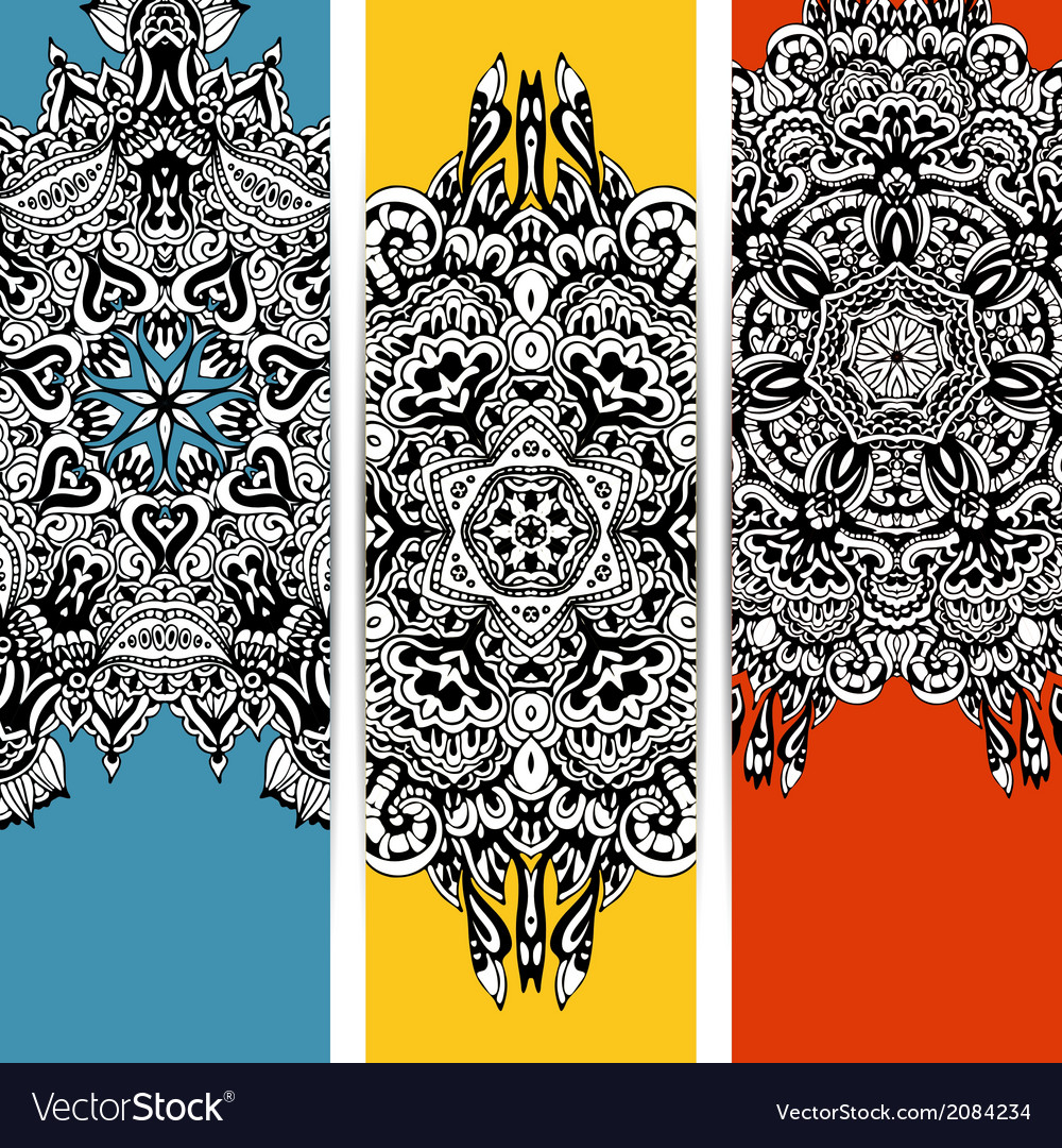 Trendy abstract ethnic banner vector | Price: 1 Credit (USD $1)