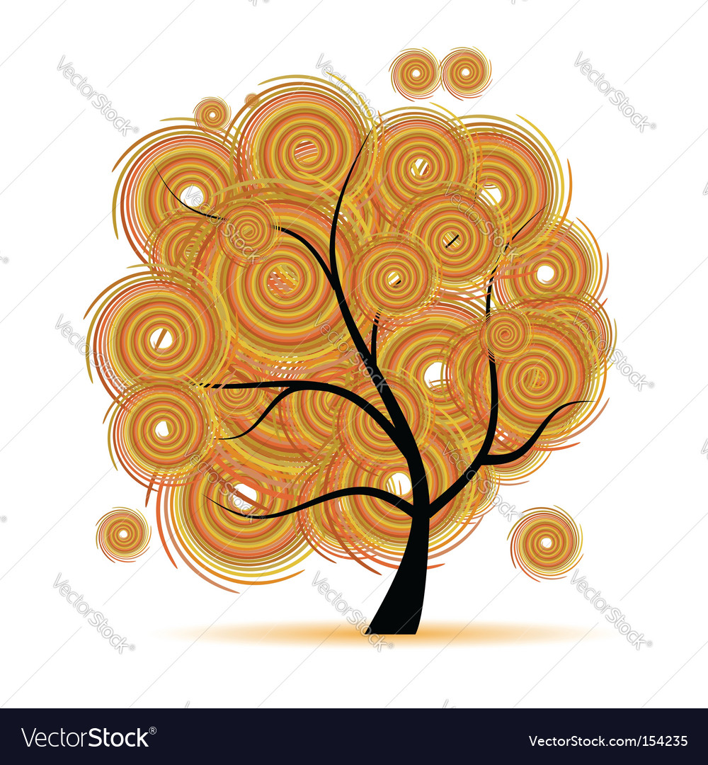 Art tree fantasy autumn season vector | Price: 1 Credit (USD $1)