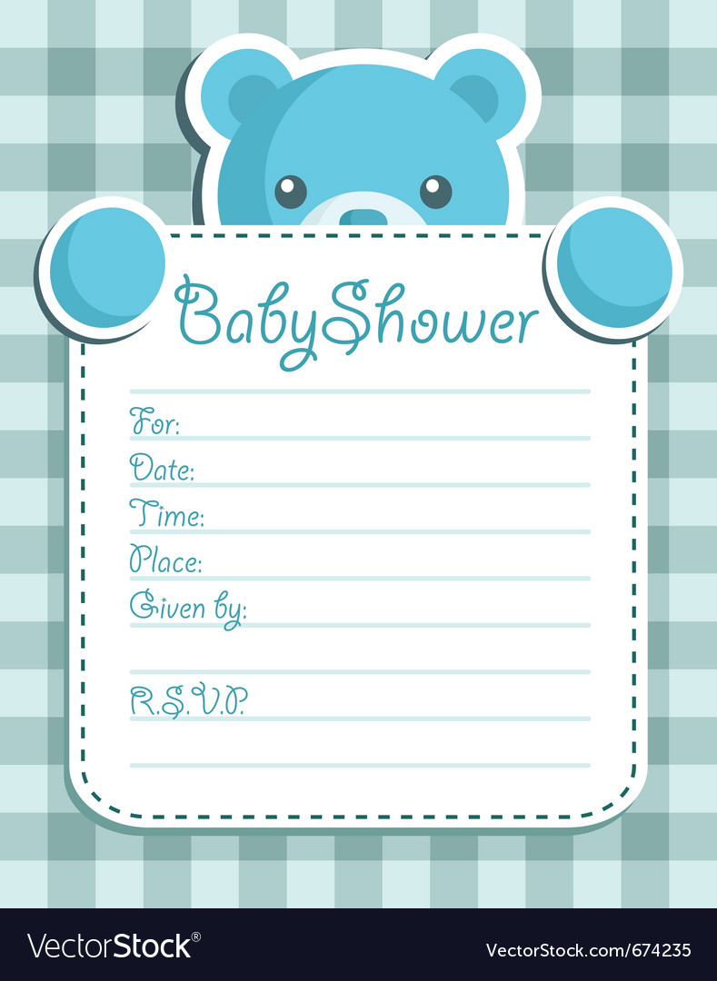 Blue bear baby shower card vector | Price: 1 Credit (USD $1)