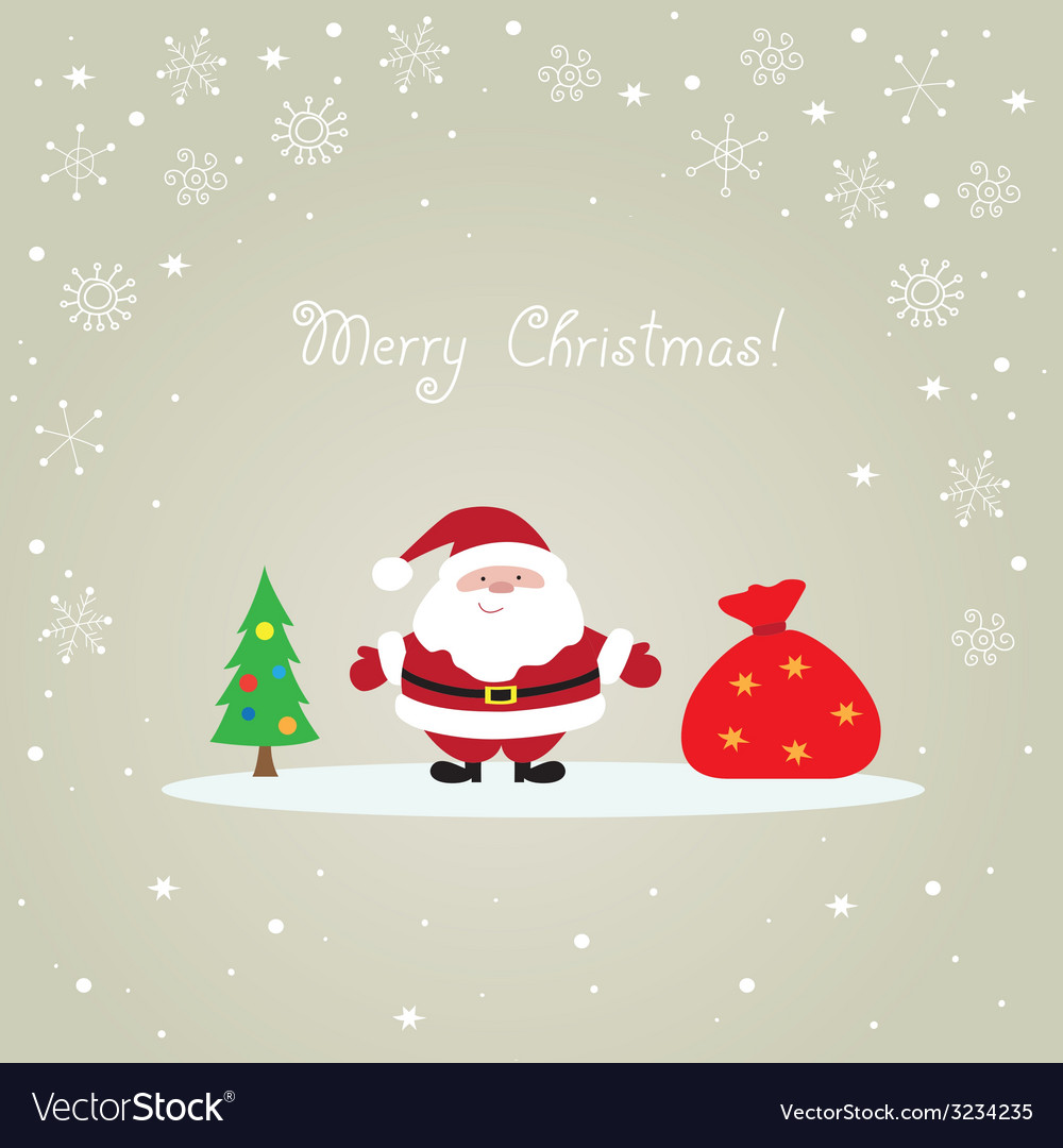 Christmas card with santa claus vector | Price: 1 Credit (USD $1)