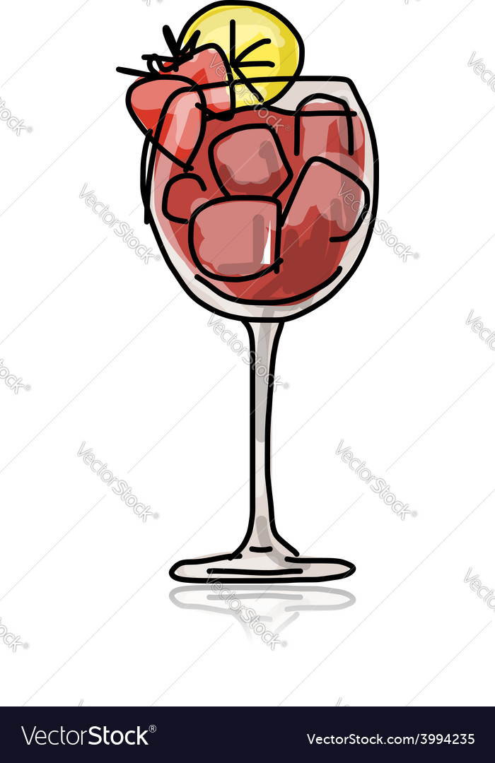 Cocktail with strawberry sketch for your design vector | Price: 1 Credit (USD $1)