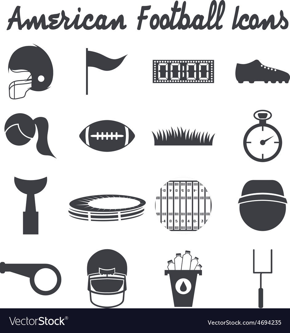 Flat design icons of american football vector | Price: 1 Credit (USD $1)