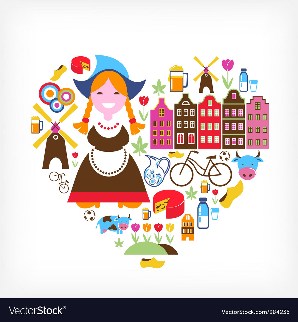 Heart with netherlands icons vector | Price: 3 Credit (USD $3)