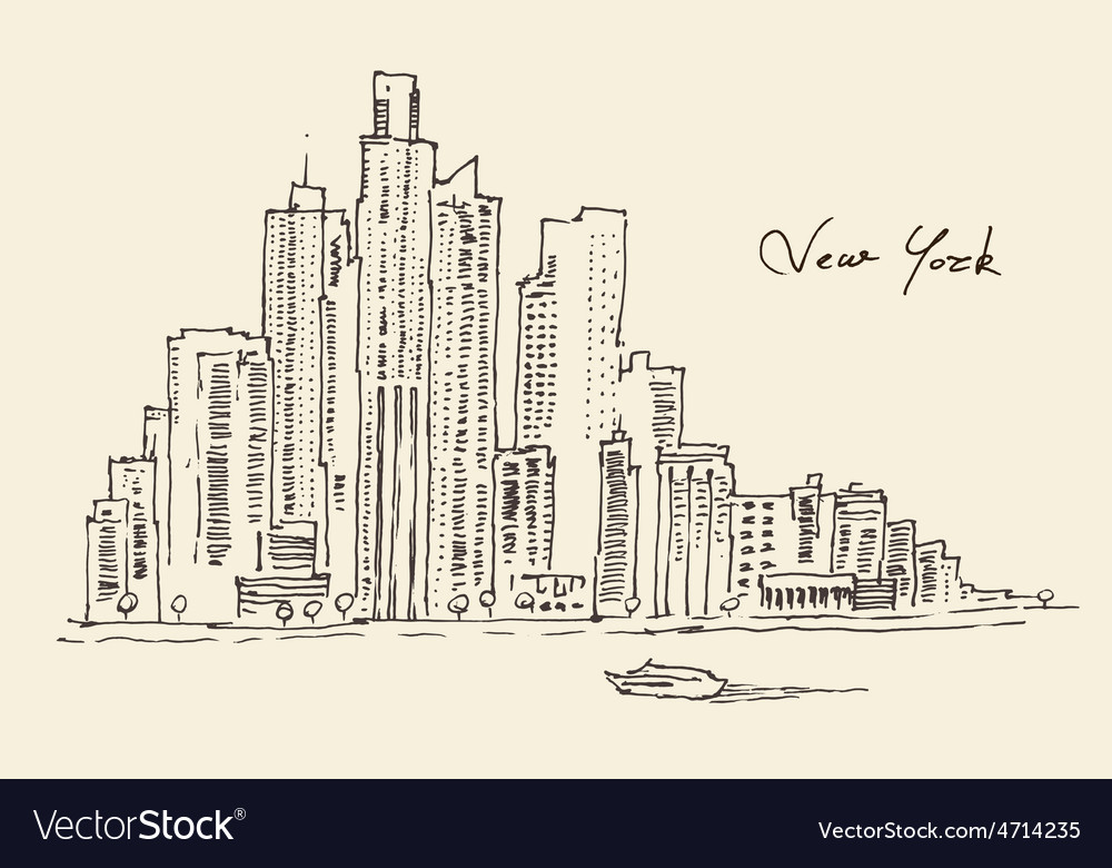 New york city engraving hand vector | Price: 1 Credit (USD $1)