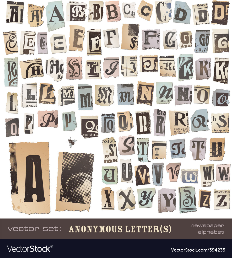 Newspaper alphabet vector | Price: 1 Credit (USD $1)