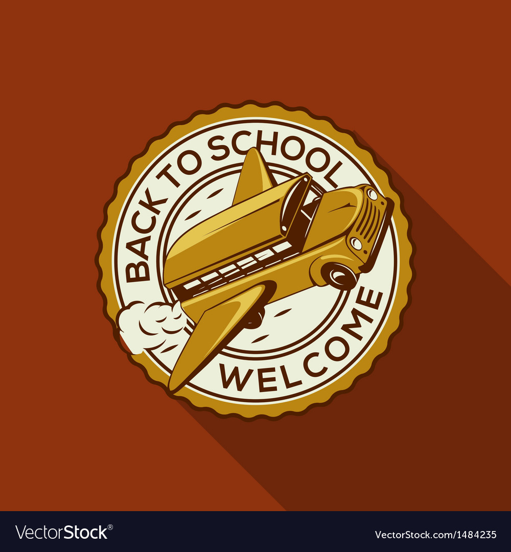 Welcome back to school label with schoolbus vector | Price: 1 Credit (USD $1)