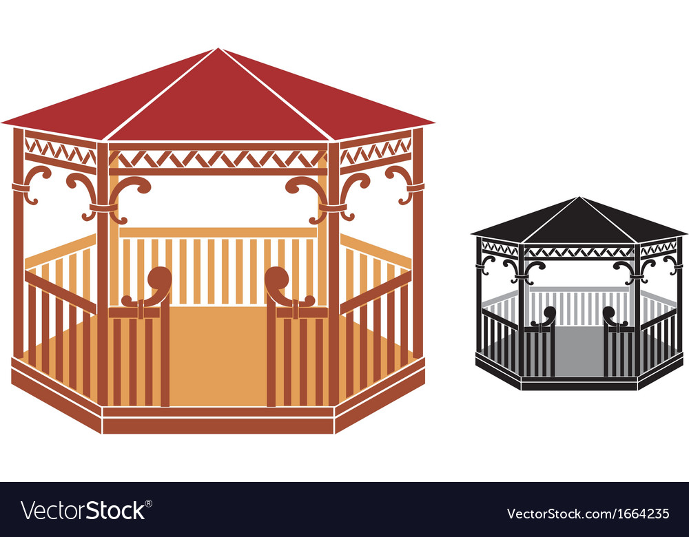 Wooden gazebo vector | Price: 1 Credit (USD $1)