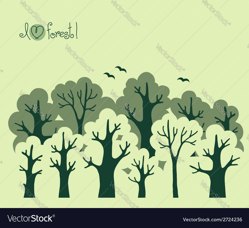 Abstract banner of green deciduous forest vector | Price: 1 Credit (USD $1)