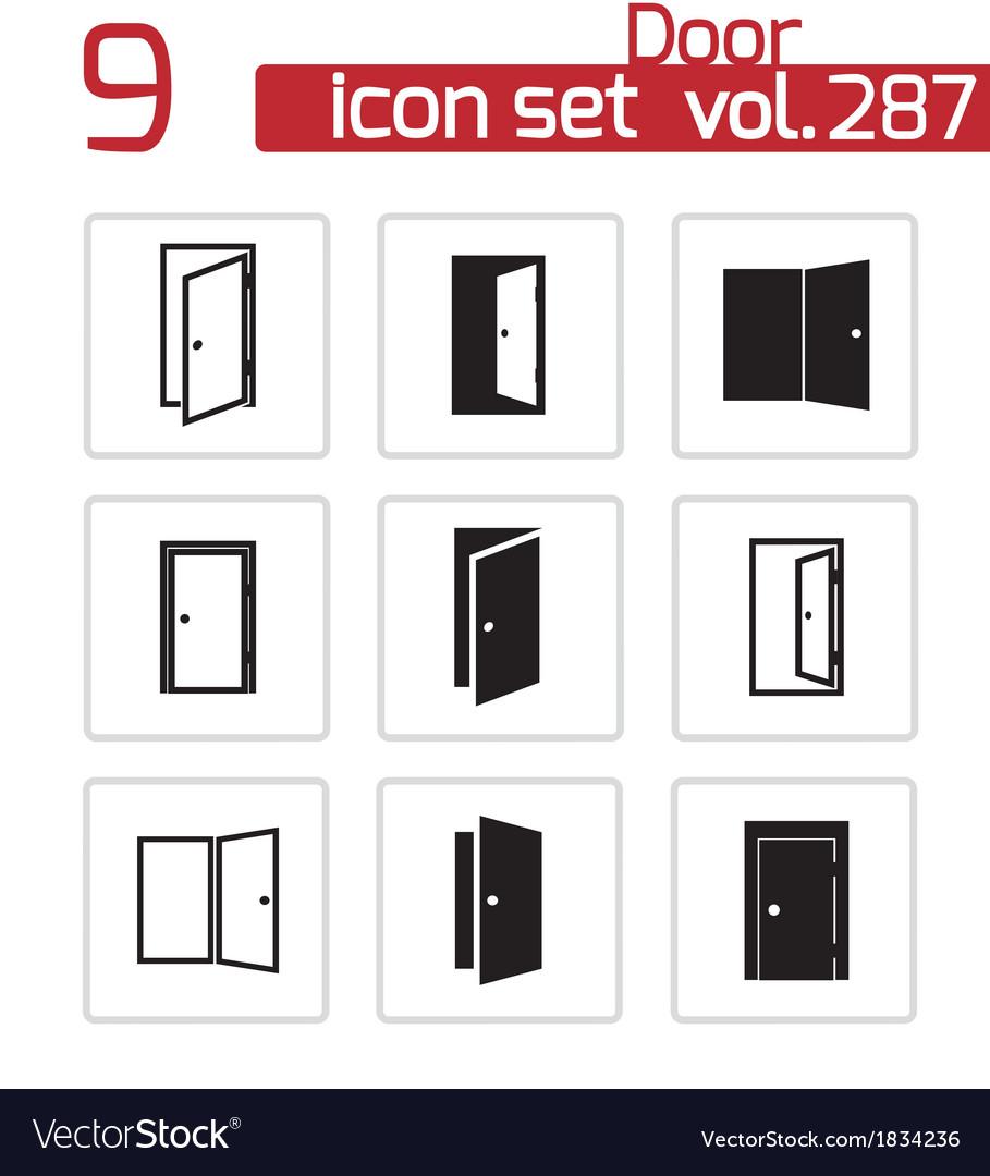 Black door icons set vector | Price: 1 Credit (USD $1)