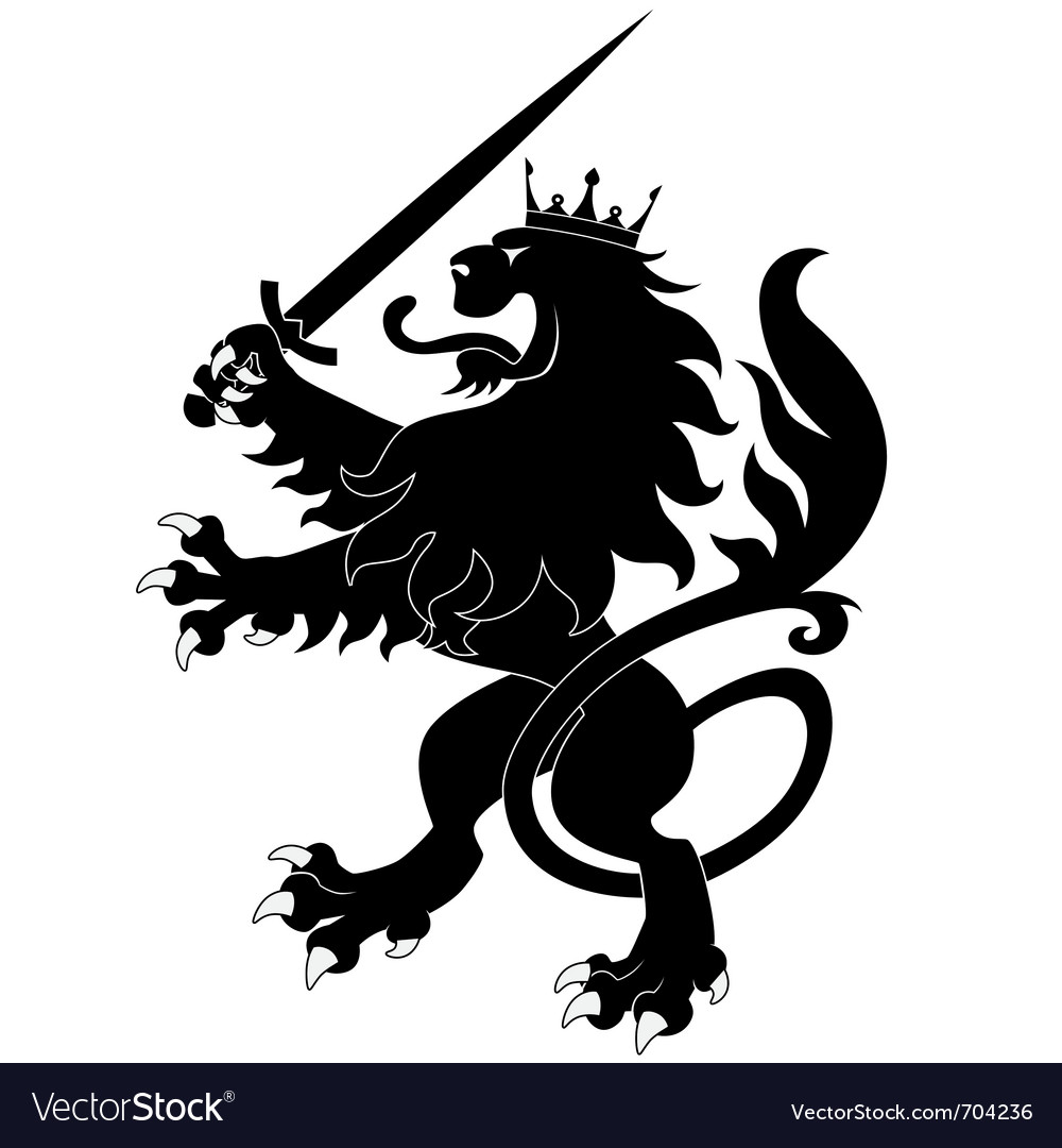 Black heraldic lion with sword vector | Price: 1 Credit (USD $1)