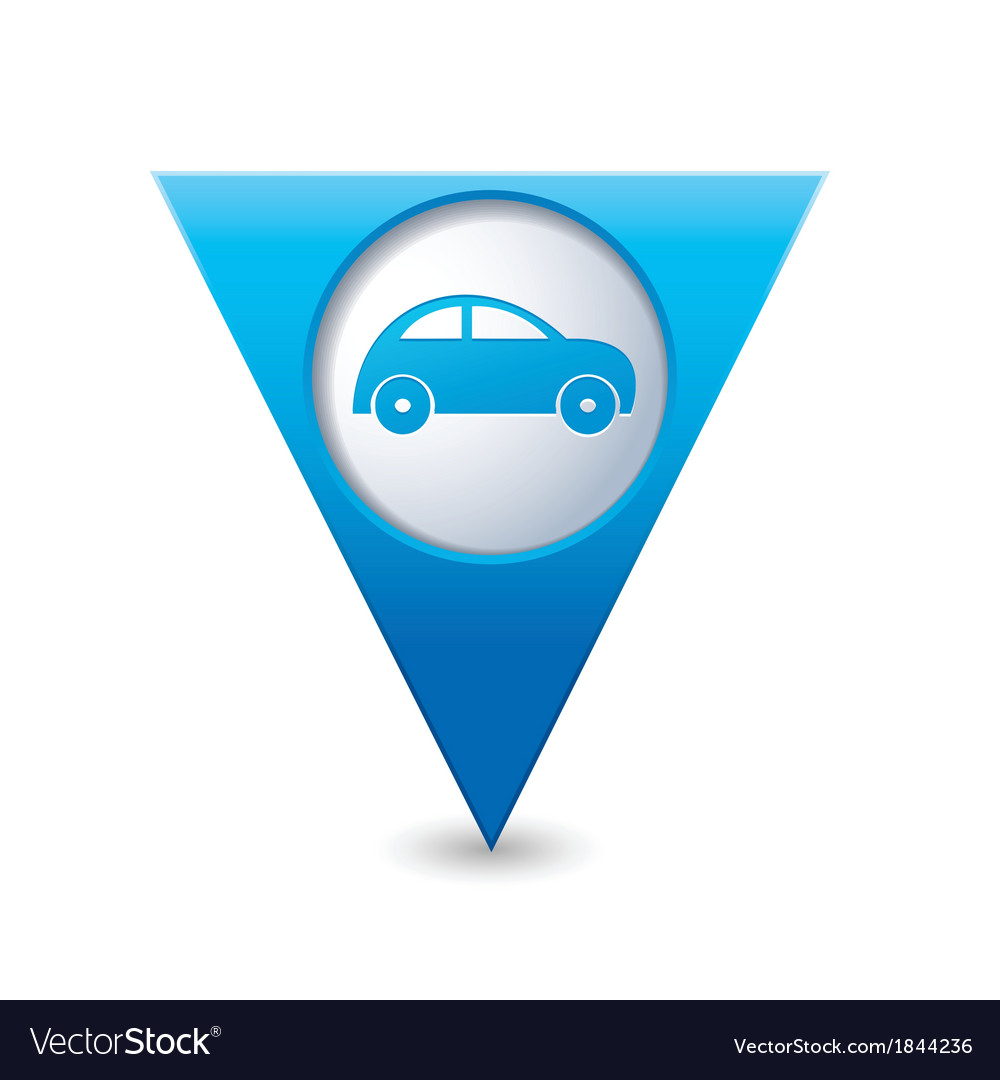 Car icon on map pointer blue vector | Price: 1 Credit (USD $1)