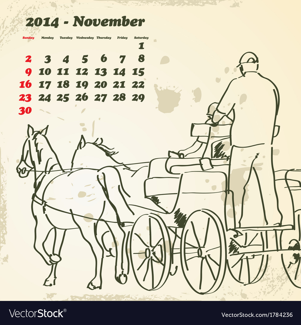November 2014 hand drawn horse calendar vector | Price: 1 Credit (USD $1)