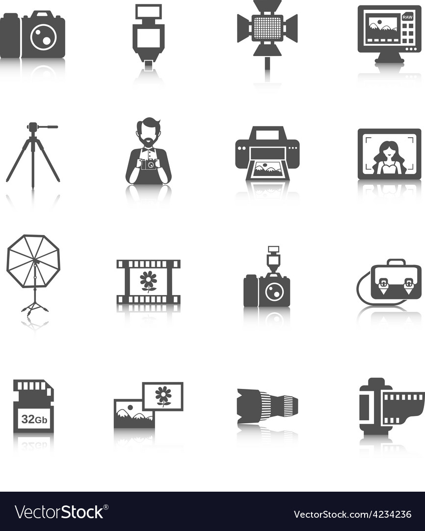 Photography icons set vector | Price: 1 Credit (USD $1)