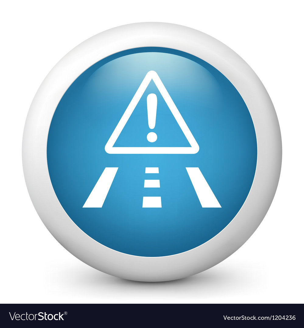 Road hazard glossy icon vector | Price: 1 Credit (USD $1)