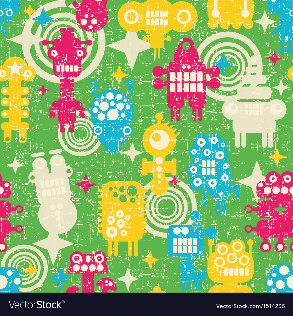 Robot and monsters modern seamless pattern vector | Price: 3 Credit (USD $3)