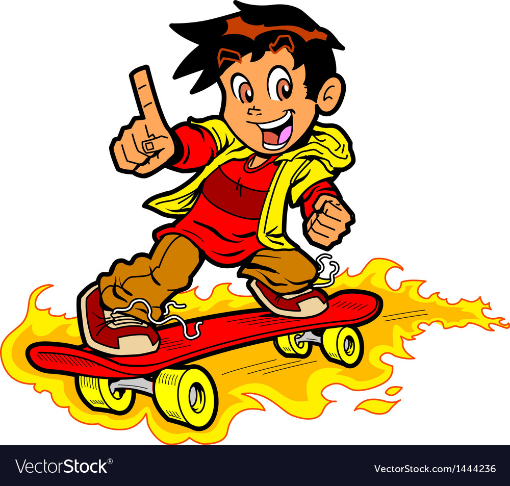 Skateboarder on fire vector | Price: 1 Credit (USD $1)