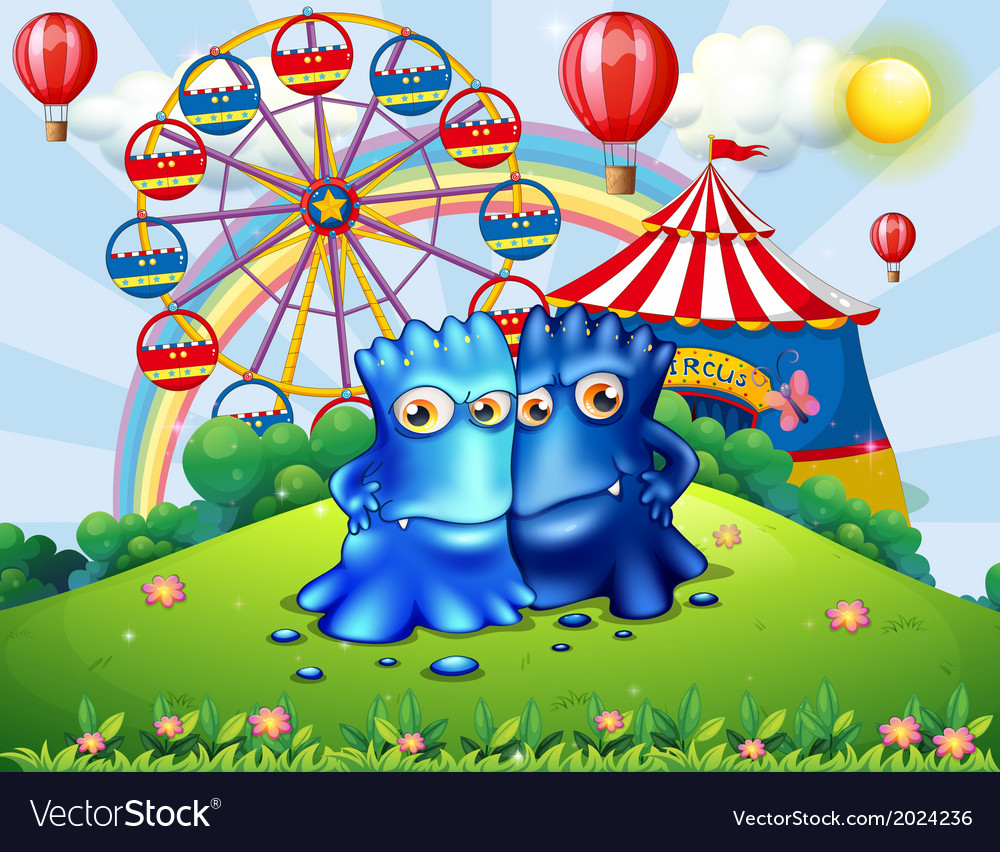 Two monsters at the hilltop with an amusement park vector | Price: 3 Credit (USD $3)